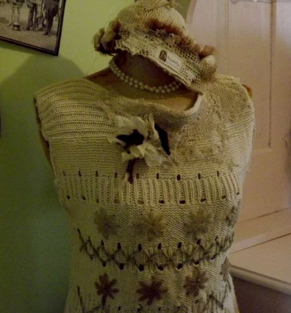 Not too Shabby Up-Cycled Rose Summer Top Matching Beenie Shabby Couture Art to Wear  Ready to Ship