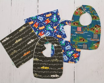 Vikings, Cars or Space Ship Baby Bib and Burp Cloth, Newborn Gift, Baby Shower Gift, Organic Cotton, Choose your fabric, Build a set