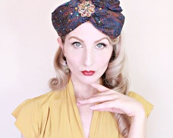 Vintage 1960s Hat / Turban Style Hat / Pillbox Hat / Paisley / Rhinestones