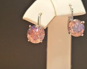 2.92ctw Pink Purple Moissanite Diamond 14kt White Gold Lever back Earrings