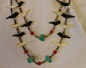 Old Pawn Heishi Shell Turquoise Coral & Zuni Bird Necklace, Turquoise, Old Pawn Turquoise, Heishi Bead Necklace, Turquoise Heishi (Item#33)