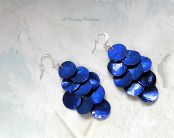 Midnight Blue Mussel Shell Earrings Cascading Earrings Chandelier Earrings Shell Earrings Beach  Summer Waterfall Earrings  Gift for her