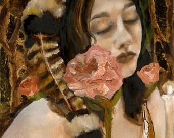 Guides - Giclee Art Print, Portrait Painting, Figurative Art, Floral Art