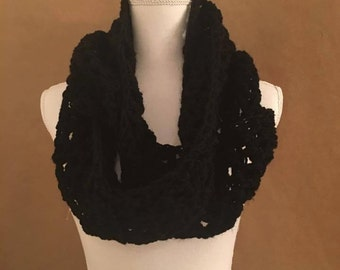 infinity scarf, crocheted scarf, black wrap, custom, (All colors available)