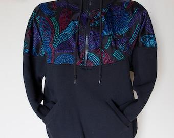 1990's Zip Pocket Sweatshirt Vintage Hipster Sweat Shirt Top Unisex Small Windbreaker Colorblock Spring Wear