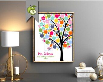 Teacher apple Tree Personalised, Class mates Names, Teacher Appreciation Gift, End of year, Personalised, Customizable, digital, printable