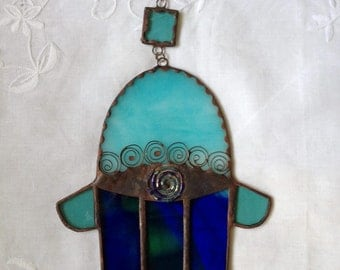 HANDMADE HAMSA HAND  Blue and Turquoise with Beads-Filigree. Wall Hanging,Special Gift.