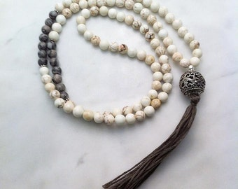 Sahasrara Mala Beads  - Magnesite Mala Buddhist Prayer Beads, 108 Mala Beads for bliss, joy, emotional harmony, awareness