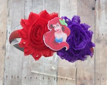 Ariel Bow-Ariel Headband-Disney Princess Ariel Bow-Ariel Birthday-Ariel-Little Mermaid Bow-Ariel Inspired Bow-Girls  Bows-Disney Vaction