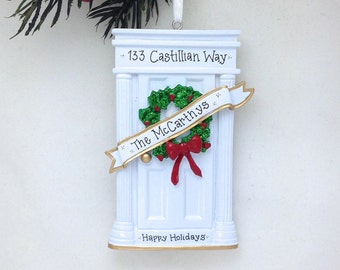 White Door Personalized Christmas Ornament / New Home Ornament / Our First Home / Real Estate Agent / Realtor Gift / New House