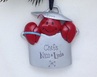 FREE SHIPPING Lobster in a Pot Personalized Christmas Ornament - Lobster Ornament