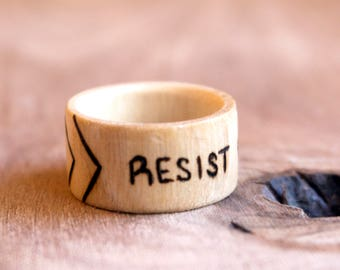Resist Ring, Resist Jewelry, Wooden Ring, Resistor Ring, Resistance, Woman's Rights, Resistance Ring, Wood Ring, Wood Burned Ring