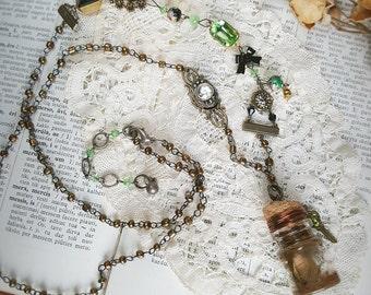 "Vial necklace - romantic - vintage - dried flower - vial pendant-wire-wrap-crystal green- ""A Sentiment, A Dream"""