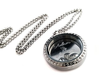 Valentine Name Locket + Couples locket - Valentine's Day gift - Gift for her - I love you locket - I love you necklace