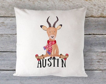 Antelope Pillow, Personalized Travel Pillow, Personalized Christmas Pillow, Christmas Pillow, Kids Christmas Gift, Kids Christmas Pillow