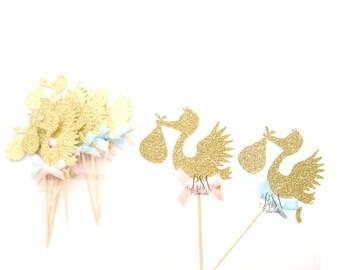 12 Gold Glitter Stork Cupcake Toppers - Stork cupcake toppers, Baby Shower cupcake toppers, Gender reveal cupcake toppers, Baby Shower Decor