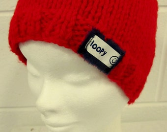 Red Handknit Beanie Hat