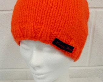 Orange Handknit Beanie Hat