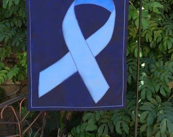 blue ribbon charity garden flag - prostate cancer awareness