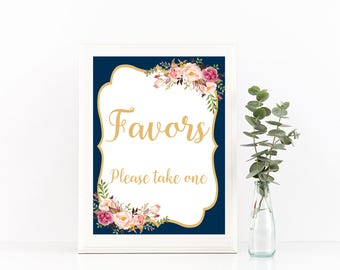 Printable favors sign, Navy and Gold favors sign, Floral wedding sign, Blush favors sign, Rustic wedding sign, Navy and blush favors, Bree