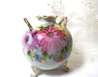 Vase // Hand Painted // Signed N // Pink and Lilac Floral with Gold Accents