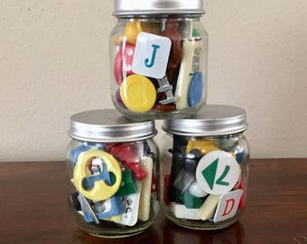 Junk Jars - Vintage Game Pieces - Mixed Media Game Pieces - Junk Drawer Lot - Unique Gift - Game Lovers