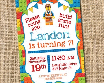 Building Block Birthday Invitation  - PRINTABLE