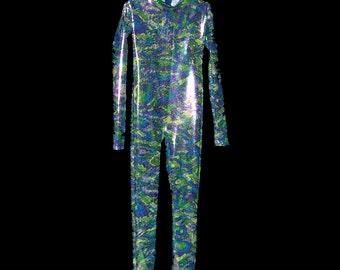 Child Size 8 Metallic Ocean Mermaid Print Stretch Spandex Unitard Catsuit Bodysuit Jumpsuit Turquoise Purple Green Costume Dance