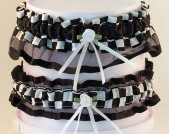 Checkered Wedding Garter Set