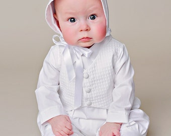 Austin Boy Christening Outfit, Baptism Outfit, LDS Blessing Outfit, Christening Romper, Christening Gowns for Baby Boy's