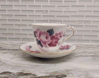Queen Anne teacup, rose teacup queen anne roses, floral tea set, rose tea set, English bone china, wedding gift, pattern 8523