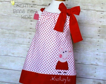 Peppa Pig Dress/ Peppa Pig Outfit/ Peppa Pig Clothing/ Personalized Peppa Pig Dress (matching bag available)