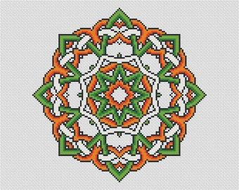 PATTERN Irish Knot Mandala - Traditional Celtic Knot Inspired Easy Modern Cross Stitch - Ireland Colours - 16 Count Pattern Using DMC Thread