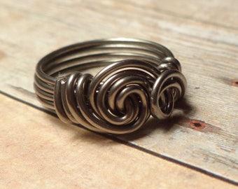 Niobium Ring, Double Swirl Ring, Hypoallergenic Ring, Size 4 5 6 7 8 9 10 11 12 13 14, Allergy Free Jewelry, Hypoallergenic Jewelry