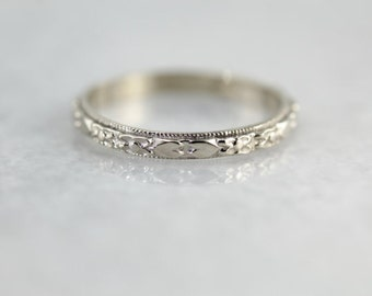 Patterned Marjorie Wedding Band in White Gold by Elizabeth Henry