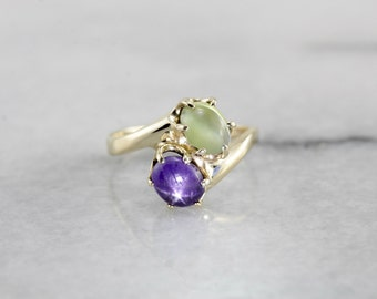 Star Sapphire and Chrysoberyl Bypass Ring in Yellow Gold ED82K3-P