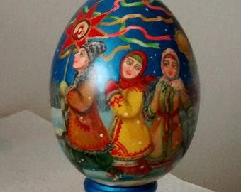 Gift wooden egg, Christmas carols in the Ukrainian village