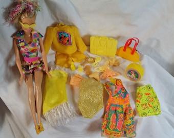 Barbie. Babie accessories. Barbie purse. Barbie case. Barbie hangers. Barbie clothes lot. Barbie Sunglasses. Barbie brush. Barbie sun dress