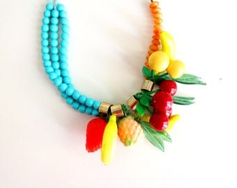 Fruit Salad Necklace Vintage Fruit Necklace Retro Jewelry Cherry Necklace Pin Up Style Jewelry Summer Jewelry Boho Jewelry  FREE SHIPPING