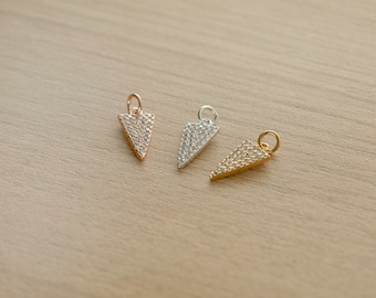 1 pcs of Triangle Cubic Zirconia Micro Pave Brass Pendant