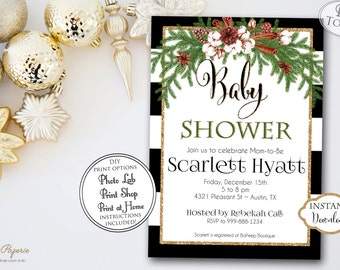 INSTANT DOWNLOAD - Christmas Baby Shower Invitation - Black Stripe Glitter Holiday Baby Shower - Winter Seasonal Baby Shower Invite - 0444
