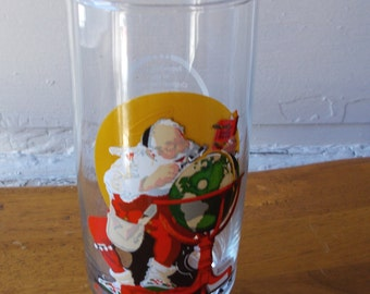 Vintage Christmas Norman Rockwell Coca Cola Collectible Glass