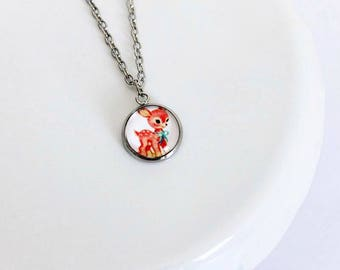 Adorable Pink Bambi Cameo Necklace