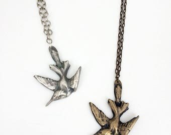 Love Medicine, Bronze or Sterling Silver Hummingbird Pendant Necklace