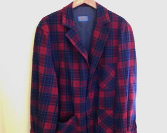 Vintage, 1960's, Pendleton, 100% Virgin Wool, Red/Blue/Black/Teal Plaid, Topster Jacket, Men's XL
