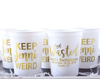 Bachelorette Party Favor, Custom Party Cups, Bridal Party, Plastic Stadium Cup, Personalized Cups, Bar Crawl, Birthday Party Cups