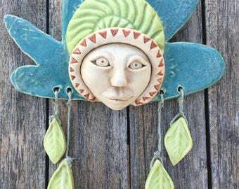 Tree Fairy Ceramic Mask, Wallhanging, Wall Art, Clay face fine art wall decor