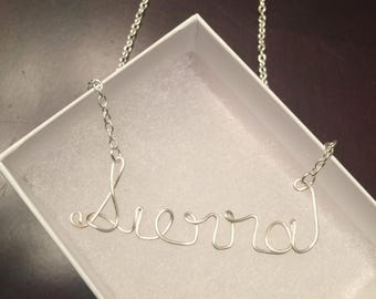 Bridesmaid gift, wire name necklace, personalized name on a necklace in silver or gold, wedding