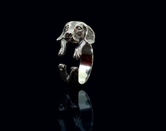 Sterling Silver Beagle Ring, Cute Beagle Jewelry, Adjustable Beagle Ring, Silver Dog Ring, Animal Wrap Ring, Ring Silver Beagle, Ring Beagle