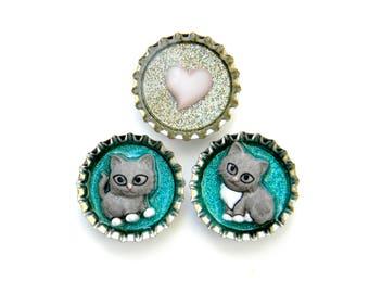 Bottle Cap Magnets - Kitty Cats - Glitter Resin Filled Set of 3